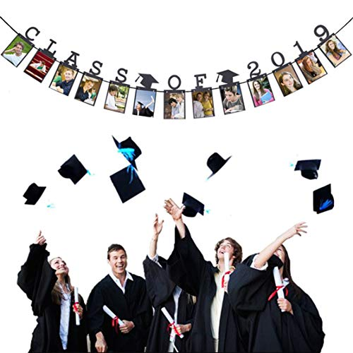 Class of 2019 Graduation Banner Decorations College Graduation Party Decoration Supplies 2019 Photo Banner for Grad Party Bunting Black -