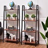 Set of 2 Classic Ladder Style Display Shelf Shelves Media Storage Bookshelf New