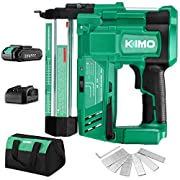 #LightningDeal KIMO 20V 18 Gauge Cordless Brad Nailer/Stapler, 2 in 1 Cordless Nail/Staple Gun w/Lithium-Ion Battery&Fast Charger, 18GA Nails/Staples, Carrying Bag, Single or Contact Firing for Home Improvement