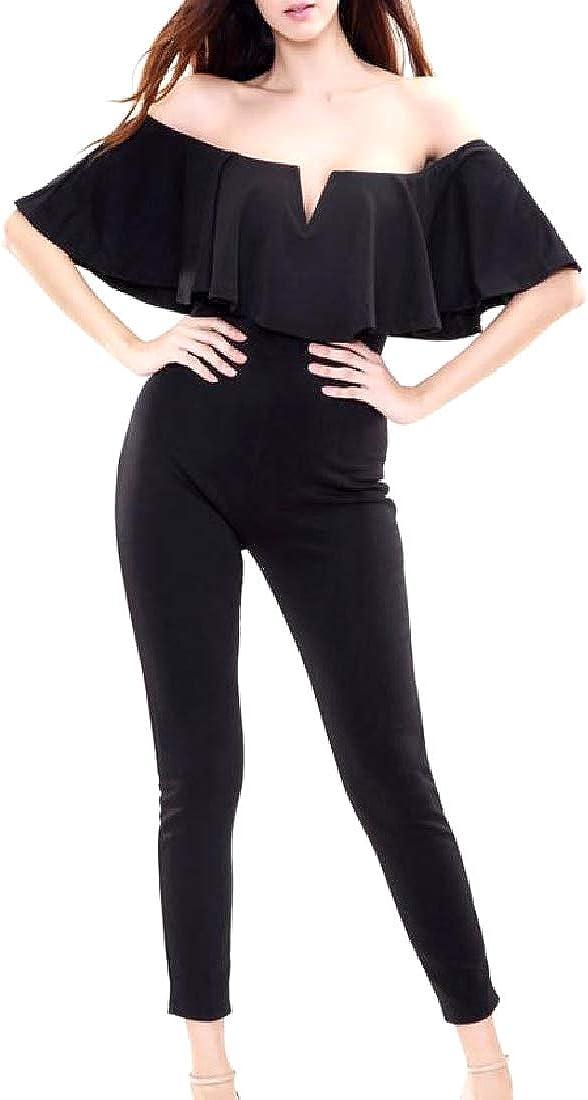 Comaba Womens Shoulder Off Solid Color Bodysuit Sport Jumpsuit