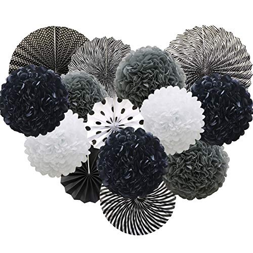 Black Hanging Paper Party Decorations, Round Paper Fans Set Paper Pom Poms Flowers for Birthday Wedding Graduation Baby Shower Events ()