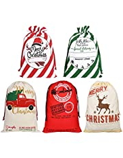 Faylapa 5 Pack Large Santa Sacks,Canvas Stocking with Drawstrings,Reusable Designs,19.7 X 27.5 Inch Xmas Present Bag