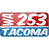Metal License Plate 253 Tacoma, WA red/blue - Neonblond