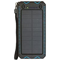 Solar Charger,Portable [Upgrade Version] 12000mAh Dual USB Solar Battery Charger External Battery Pack Phone Charger Power Bank for Outdoors (Rainproof, Dust-proof, Shockproof). (blue)