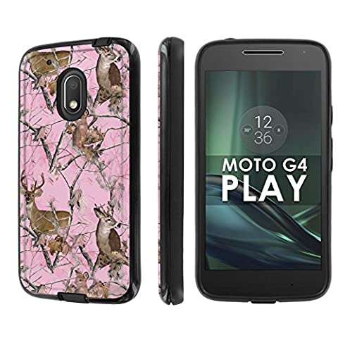 Motorola Moto G Play [4th Gen] Phone Case [NakedShield] [Black/Black] Dual Armor ShockProof Case - [Pink Deer Camouflage] for Moto [G4 (Motorola G Glass Covers)