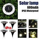 Inverlee 4PC In-Ground 10LED Lights Solar Powdered Outdoor Ground Garden Path Floor Underground Buried Yard Lamp Path Way Garden Decking (4Pcs-10LED)