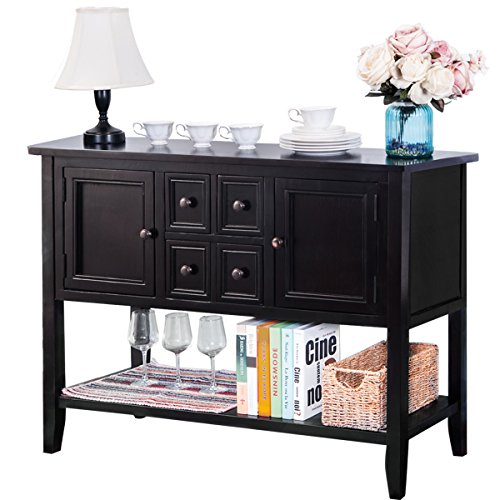 Mera Sideboard Console Table Buffet Table Sofa Table with Four Storage Drawers Two Cabinets and Bottom Shelf (Black)