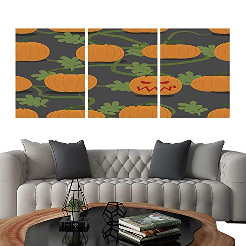 UHOO Triptych Art SetScary Halloween Pumpkin Among Plantation of Pumpkins Pumpkin FA. Modern Wall Art for Living Room Decoration 20
