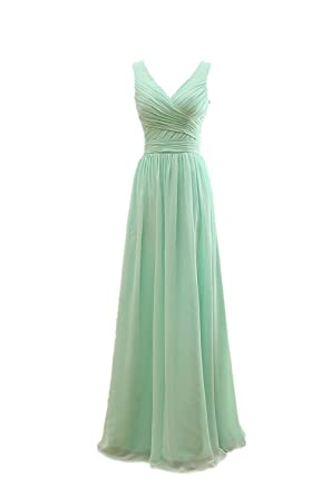 Henglizh V Neck Chiffon Bridesmaid Dress Prom Banquet Evening Dresses Mint Green,Size 2