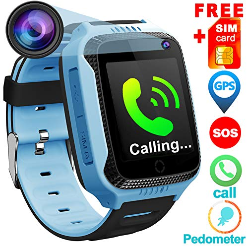 "[Free Speedtalk Card] Kids Phone Smart Watch for 3-12 Year Old Boys Girls with GPS Tracker Locator Pedometer Fitness Tracker SOS Alarm Camera Game Watches 1.4"" HD Screen Sports Watch Birthday Gift"