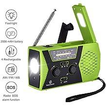 Emergency Radio, Sararoom NOAA Weather FM Radio Solar Power Hand Crank USB Charge Radio, Flashlight SOS Alarm 2000 mAh Power Bank for Hurricane, Storm, Earthquake, Travel, Camping, Outdoor Green