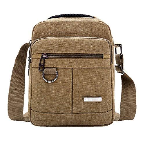 Bag Casual Retro Canvas Shoulder Travel Business For Tablet Boy Messenger Bag Crossbody Satchel Laptop Men Multi Pocket Khaki