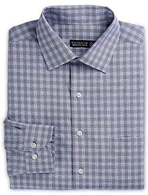 Rochester by DXL Big and Tall Non-Iron Tonal Dobby Plaid Dress Shirt