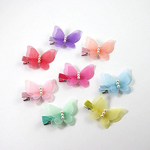 ShungFun Cute Glitter Pearl Butterfly Chiffon Hair Bow Clips Non-slip Hair Clips Hair Barrettes Hair Bows for Little Girls Baby Kids Keens Children Toddlers Women by ShungFun (Image #2)