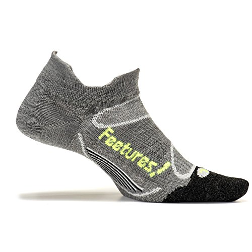 Feetures! - Elite Merino+ Ultra Light - No Show Tab - Gray/Reflector - Size Medium - Athletic Running Socks