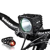 Night Eyes- One Week Only!1200 Lumens Mountain Bike headlight Bike LED Light -rechargeable 8.4V 6400mA ABS Waterproof Battey-FREE Aluminum BikeTaillight Bonus -NO Tool Required