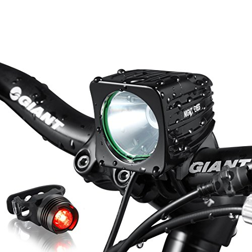 Night Eyes- One Week Only!1200 Lumens Mountain Bike headlight Bike LED Light -rechargeable 8.4V 6400mA ABS Waterproof Battey-FREE Aluminum BikeTaillight Bonus -NO Tool Required