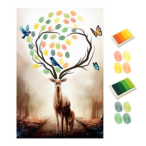 Vegan 1 pc Two Elks Fingerprint Canvas Painting,DIY for Baby Shower,Baby Baptism Or Child Birthday Party Guest Book Signing Canvas ()