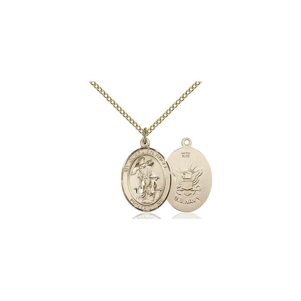 DiamondJewelryNY 14kt Gold Filled Guardian Angel//Navy Pendant