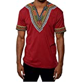 Gtealife Men's African Print Dashiki T-Shirt Tops Blouse (1-Red, M)