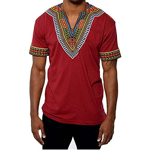 Gtealife Men's African Print Dashiki T-Shirt Tops Blouse (1-Red, M) by Gtealife (Image #2)