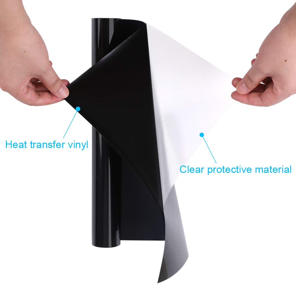 """Easy to Cut/&Weed Black GraceM HTV Vinyl Heat Transfer Vinyl Works Perfect with Silhouette for T-Shirt and Other DIY Materials Customer Repeat 12/""""x5/' roll Matte Iron on Transfer Vinyl"""