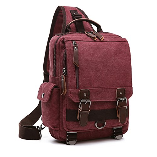 Dual Sport Canvas (NANJUN Dual-use Canvas Big Casual Backpack Shoulder Bag for Men Women(jb008-Red))