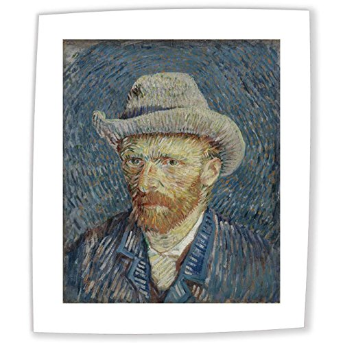 Fully Textured 3D Printed Canvas Reproduction Unmounted Fine Art - 30X30 cm (approx. 12X12 inch) Van Gogh Self Portrait With Grey Felt Hat Self Portrait Paintings Wall Art for Living Room
