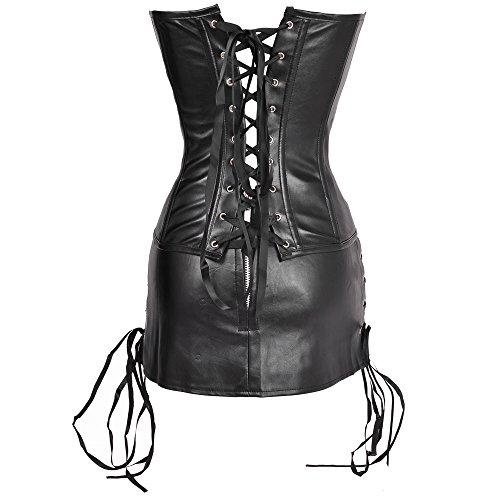 MISS MOLY Donna Pelle delle di Overbust Dimagramento Kunst Leder corpetto Corsetto Vestito Nero Oversize Nero #1