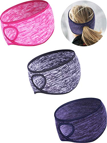 Tatuo 3 Pieces Fleece Ponytail Headband Earband Winter Running Headband Ear Warmer Headband for Women Girls Outdoor Sports and Fitness (Color Set 1)