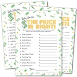 Price Is Right Baby Shower Game - Fun Baby Shower Game - Coed Baby Shower Game for Boys, Girls, or Gender Neutral - Green and Gold - Set of 50 Baby Shower Games