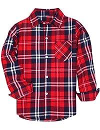 Boys' & Men's Plaid Flannel Button Down Shirt, 3 Months -Men XXL