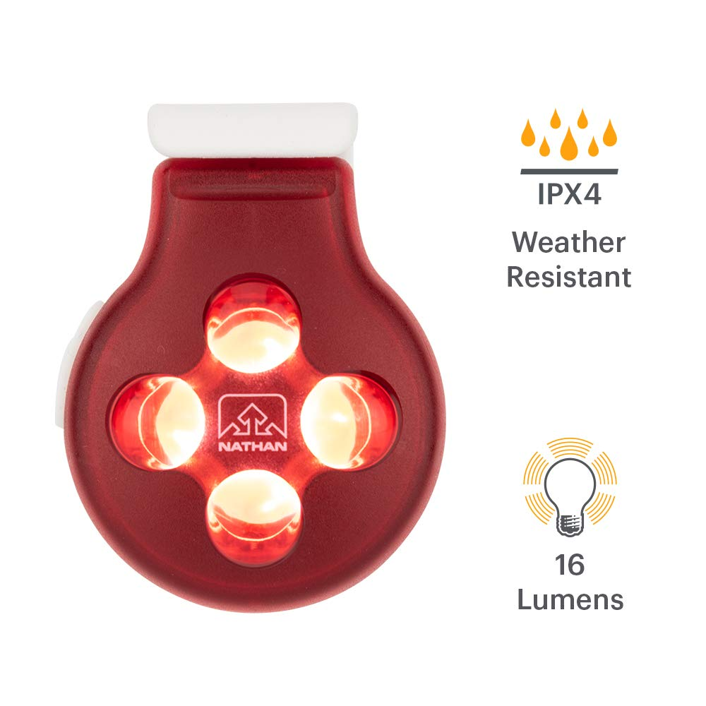 for Running Nathan LED Safety Light Strobe Clip-On Weather Resistant Biking Red or Yellow Dog Kids Walking Size of a Quarter Extremely Powerful Flashing
