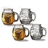 """Circleware Family Glass Drinking Glasses Set, 17.5 Ounce, Set of 4, Beer Mug/Cups Embossed """"Family"""", Limited Edition Glassware Drinkware Barware Jar Mugs"""