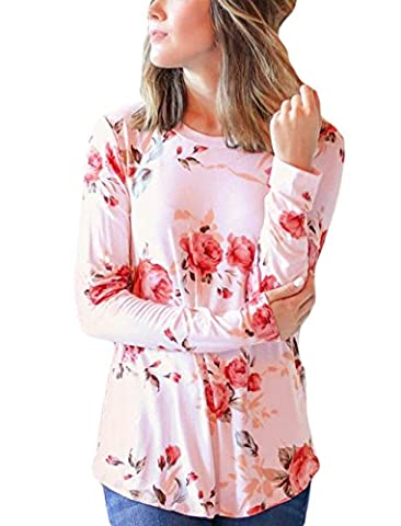NuoReel Women's Casual Crew Neck Floral Print Long Sleeve T-shirt Blouse Tops(Large Pink) - Pink Floral Shirt