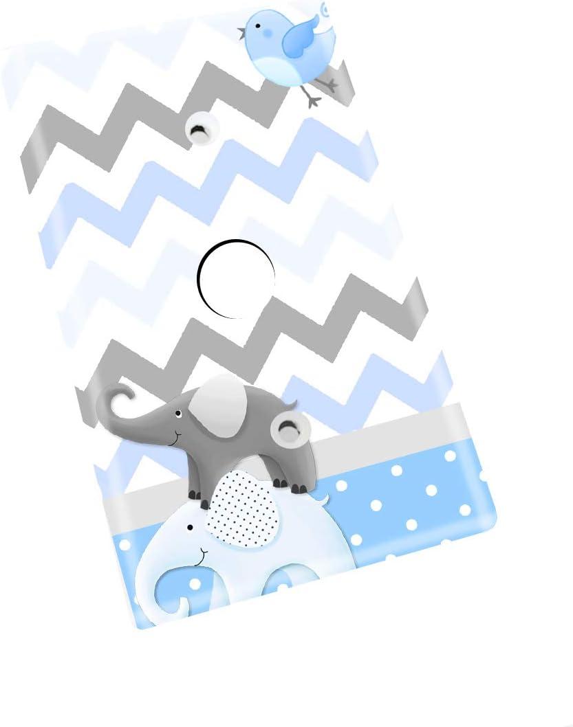 Blue Brown Elephants Giraffe Jungle Kids Bedroom Baby Nursery Single Light Switch Cover LS0009 Single Outlet