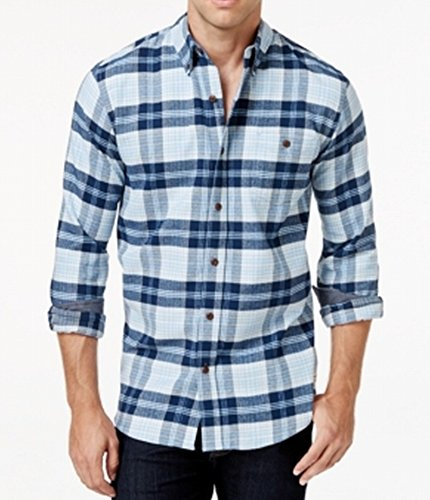 Weatherproof Powder Mens Flannel Button Down Shirt Blue 4XLT Powder Blue Flannel
