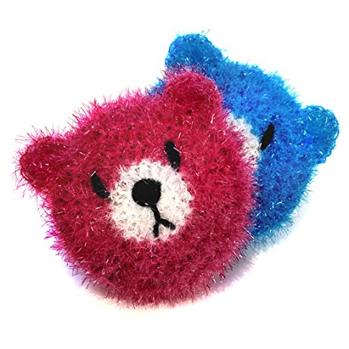 (Super Cute Bear Dish Scrubber (2 pk) 100% Hand made Multi-Use Non-scratch No Mildew Odor Smell like Sponge or Dishcloths)