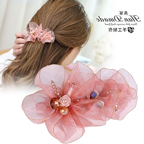 usongs Stewardess career head flower headdress hairpin Crystal hairpin top folder ponytail spring lace flower hair accessories jewelry