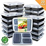 Enther Meal Prep Containers 36oz Lids, Food Storage Bento Box BPA Free/Reusable/Stackable Lunch Planning, Microwave/Freezer/Dishwasher Safe, Portion Control, 20 Pack 3 Compartments...