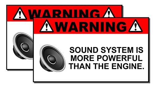 Set Warning Decal (x2 Funny Sound System Warning Sticker Set Vinyl Decal Sub woofer JDM Car Woofer)