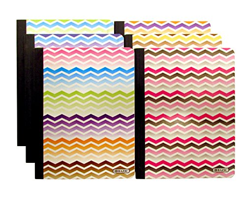 "Set of 6 Chevron Composition Notebooks (100 Page, College Ruled, Non-Punched, 9.75"" X 7.25"")"