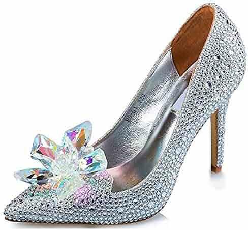 SYJO Cinderella Princess Crystal Shoes Glass Flower Wedding Shoes Evening  Dress Heels 0fabe82d221e