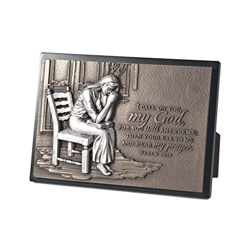 (Lighthouse Christian Products Moments of Faith Praying Woman Rectangle Sculpture Plaque, 4 1/2 x 6 1/2