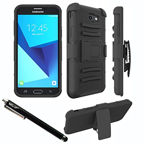 Case for Galaxy J7 2017/ J7 V / J7 Prime / J7 Perx / J7 Sky Pro/ Galaxy Halo Case, MELOP Three Layer Swivel Belt Clip With Kickstand Holster Built-In Armor Case for Samsung Galaxy J7 2017 - Black