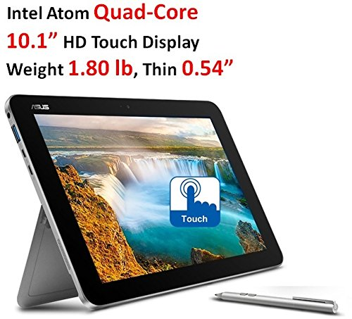 "2017 ASUS 10.1"" 2-in-1 HD Touchscreen Transformer Laptop, Latest Intel Atom Quad-Core x5-Z8350, 4GB RAM, 64GB EMMC, Keyboard and Pen Included, Bluetooth, Wi-Fi, HDMI, Webcam, Windows 10 (Asus Laptops Transformer)"