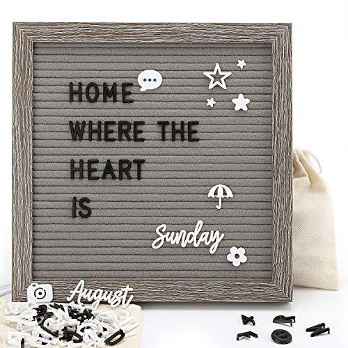- [Upgraded Version] Felt Letter Board - Gray Changeable Message Board Letterboard with Stand & Wall Hook, 639 Black & White Letters, Numbers and Emojis, Rustic Weathered Frame, 10x10 Inches