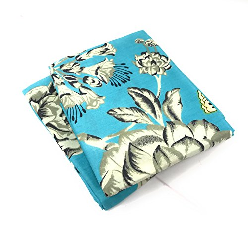 (Tache Aqua Blue Cream Floral Pillowcase - Butterfly Wonderland - Cotton Bright Multi Colorful Decorative 20x30 Standard Queen Pillow Cover Set - 2 Pieces)