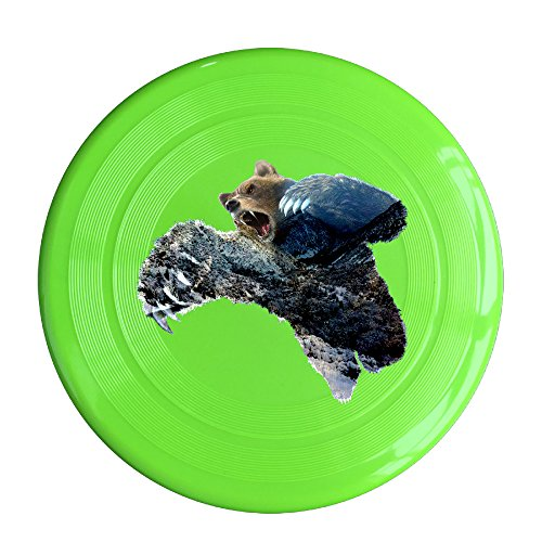 LINNA Custom Double Exposure Bear With Nature Outdoor Game Frisbee Game Room KellyGreen
