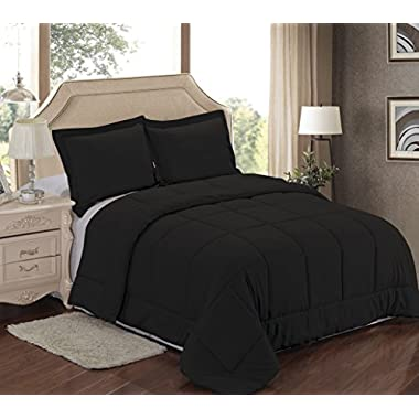 Sweet Home Collection 3Piece Reversible Polyester Microfiber Goose Down Alternative Comforter Set with pillow Shams, Full/Queen, Black
